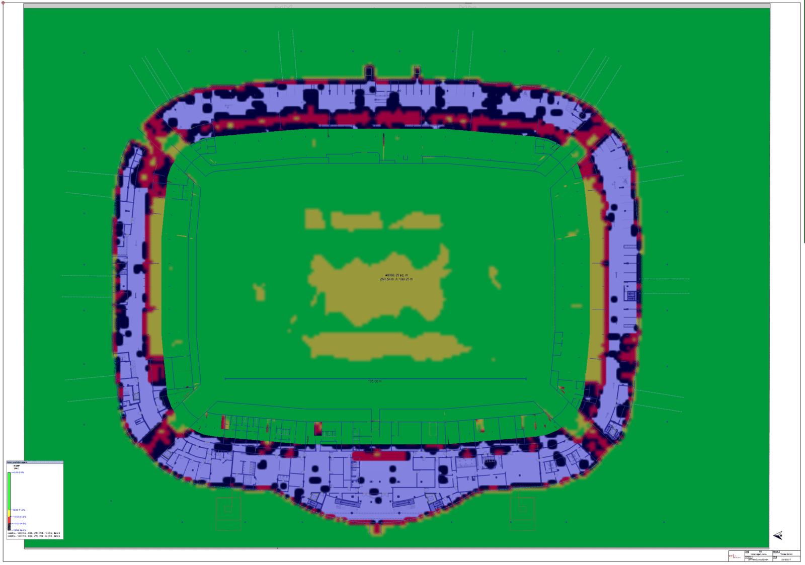 Projektbeispiel (2/2): Fußballstadion der 1. Fußball-Bundesliga – Kapazitätenplanung, Prädiktion für LTE 1800 erstellt mit iBwave durch STF Gruppe